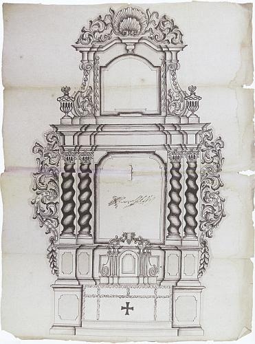 Přijatý návrh hlavního oltáře kostela v Želnavě, jak ho v září roku 1724 předložil českokrumlovský městský truhlář Josef Široký , bratr želnavského duchovního Matěje Antonína Širokého