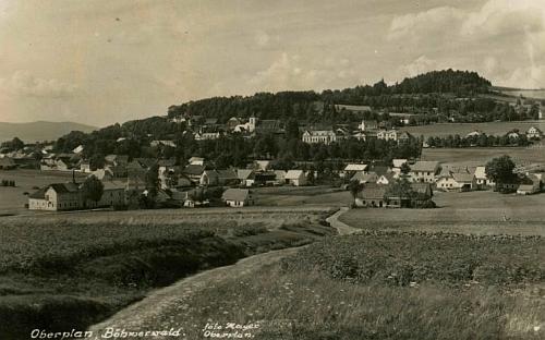 Rodná Horní Planá na pohlednici zdejšího fotografa a jmenovce Johanna Mayera