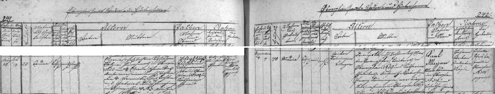 Záznam hornoplánské matriky o narození jejího děda z matčiny strany
