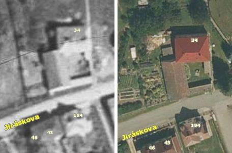 Dům čp. 34 na leteckých snímcích z let 1949 a 2011