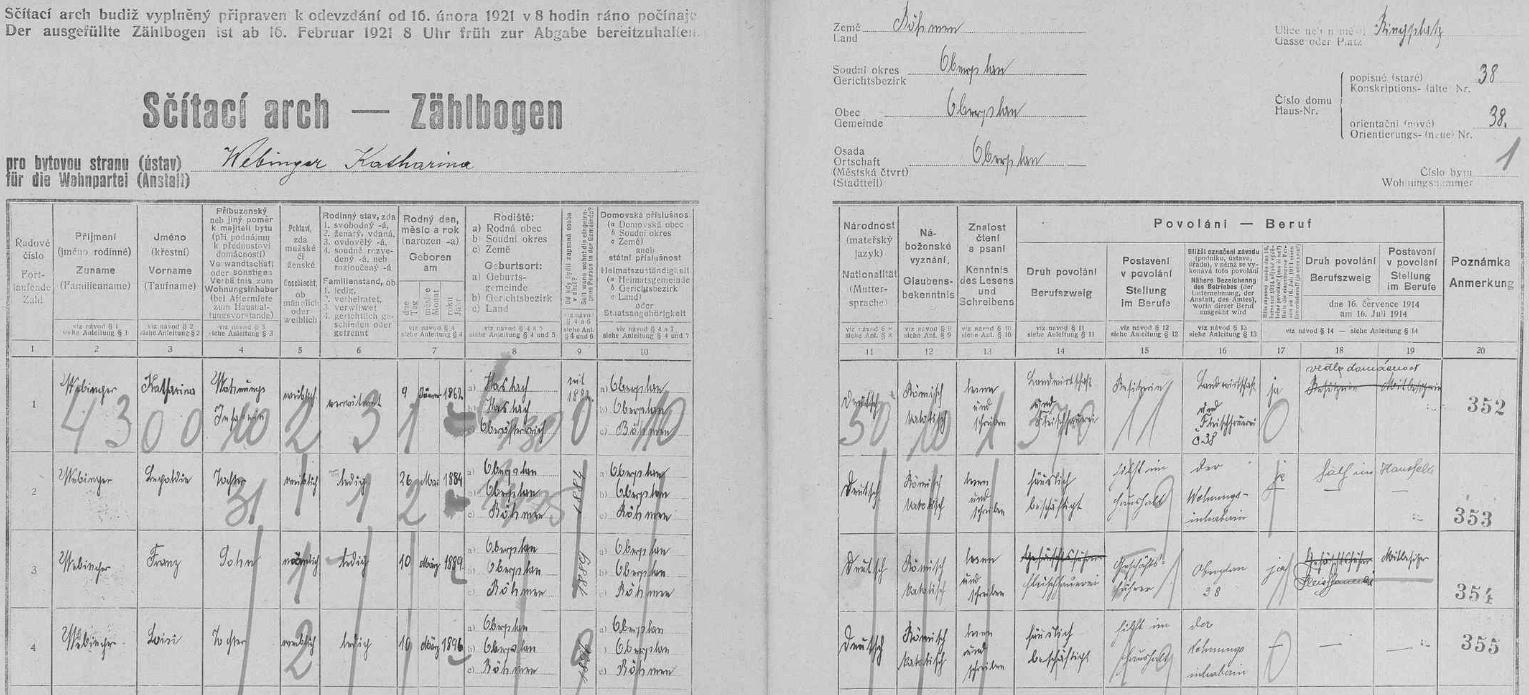 Podle archu sčítání lidu z roku 1921 pro dům čp. 38 v Horní Plané tu syn Kathariny Webingerové Franz provozoval řeznictví