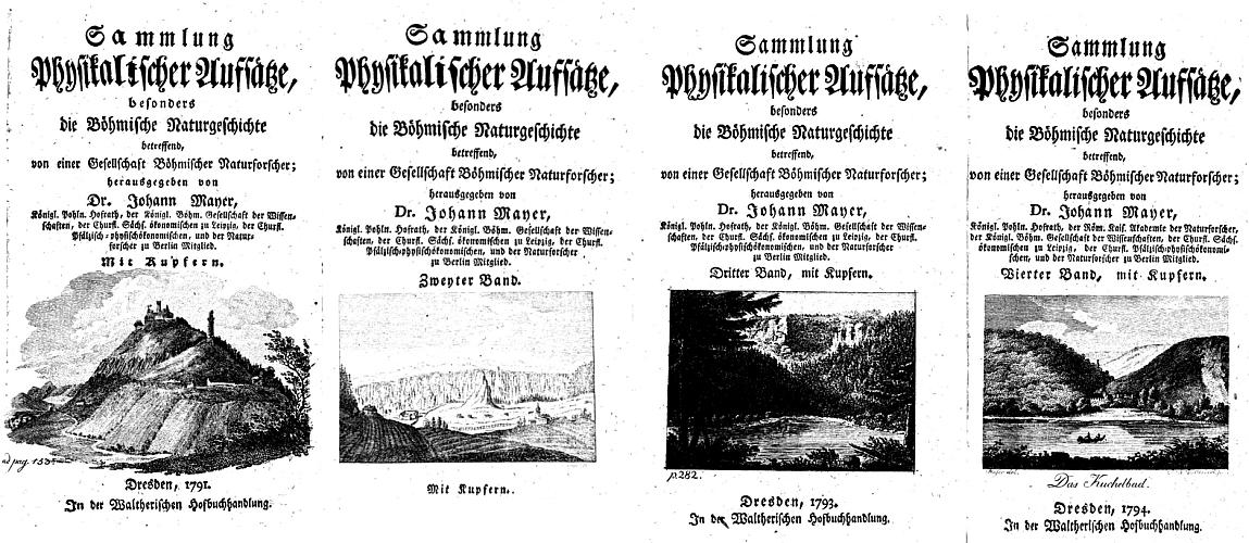 Titulní listy čtyř svazků jeho díla