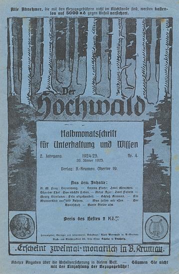 """Obálka (1925) jednoho z čísel """"půlměsíčníku"""" der Hochwald, který vydával v Českém Krumlově jeho otec, tištěn však byl v Prachaticích"""