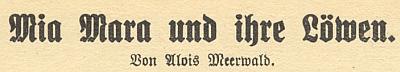 Jeho cirkusová povídka uváděla Kratochwilův Sonntagsboten-Kalender na rok 1927 (viz níže)