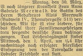 Zpráva o úmrtí jeho první manželky a jejím pohřbu vMladém 1. dubna roku 1931 na stránkách českobudějovického německého listu