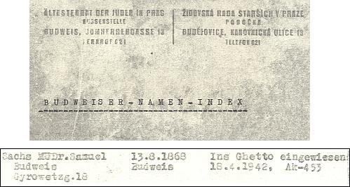 Jméno MUDr. Samuela Sachse, dlouholetého lékaře Aloise Meerwalda, na stránkách jmenného indexu českobudějovické pobočky Židovské rady starších, zachycujícího osoby, vypovězené transportem do ghetta v Terezíně....