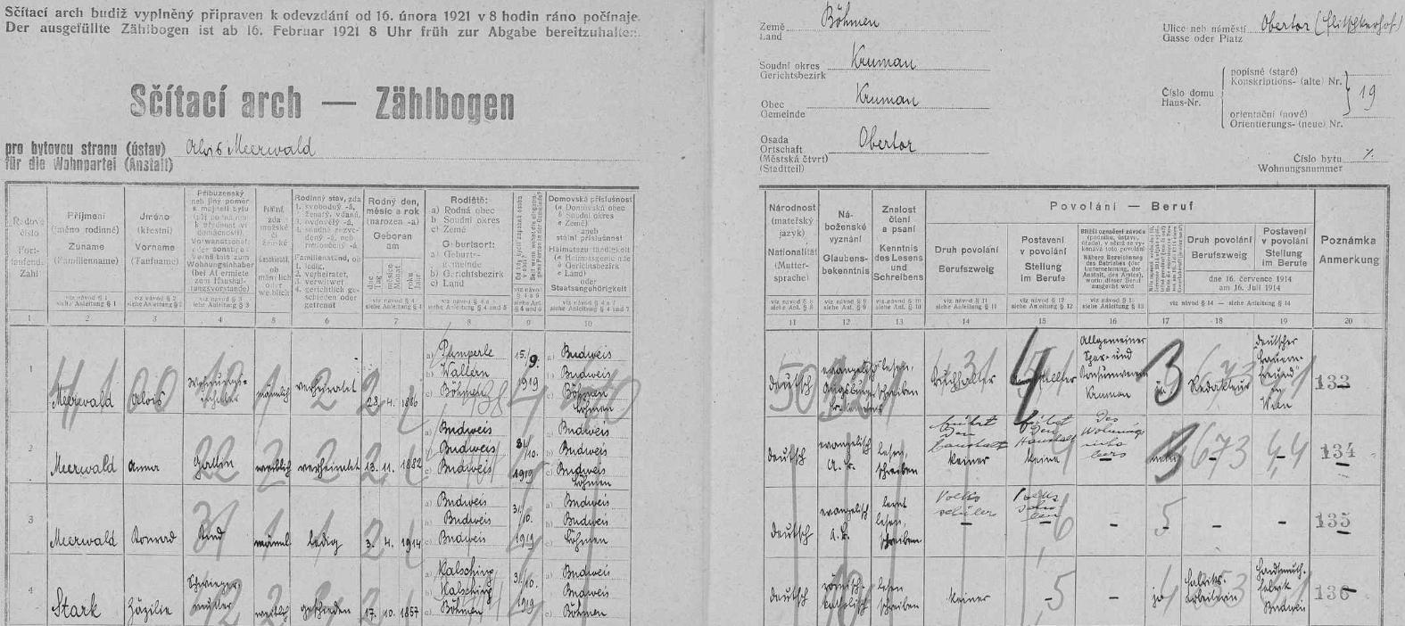 """Arch sčítání lidu z roku 1921 pro dům na Horní bráně čp. 19 (v závorce je Fričkův dvůr psán mylně Flitschkerhof), kde bydlil Alois Meerwald se svou manželkou Annou (*18. listopadu 1882 v Českých Budějovicích /Budweis/), synem Konradem a tchyní Zäzilií Starkovou (*17. října 1857 ve Chvalšinách /Kalsching/) - v rubrice povolání má uvedeno, že je účetním u Všeobecného spořitelního a konzumního spolku pro politický okres Český Krumlov a také redaktorem vídeňského listu """"Deutscher Bauernfreund"""""""