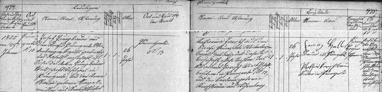 Záznam kunžvartské oddací matriky o svatbě rodičů jeho matky Albiny 29. ledna roku 1855 ve dnes už neexistujícím kostele Nejsvětější Trojice vdnešním Strážném