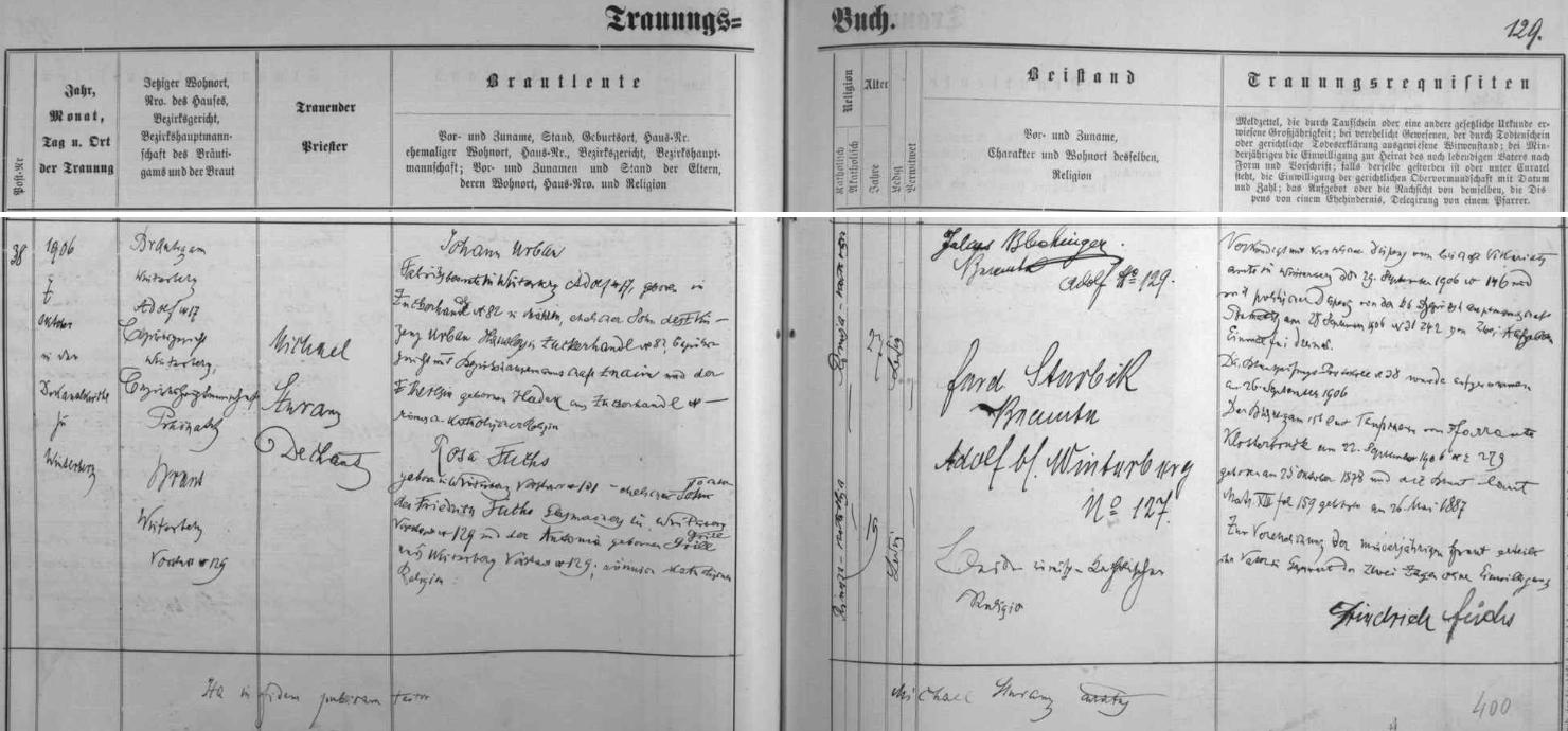 Záznam o svatbě rodičů, tj. Johanna Urbana a Rosy Fuchsové, na stránkách vimperské oddací matriky