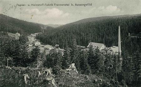 Papírna ve Františkově na pohlednici Josefa Seidela z roku 1910