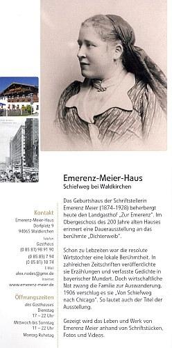 V průvodci po muzeích Bavorského lesa najdeme istránku věnovanou expozici vjejím rodném domě vSchiefwegu u Waldkirchen