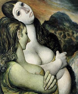 Obraz nazvaný Potrét dvou žen ve večerní krajině (1977)
