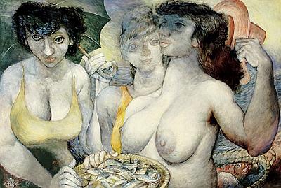 """I tento obraz s názvem Tři grácie s košíkem ryb (1982) figuroval v nabídce aukční firmy Zeller vedle děl Miróových aPicassových - jako Meinhardovy obrazy předchozí i tento je signován """"rybičkou"""""""