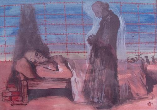Zachytil na svém obraze i otcovu smrt v lágru Vývarka u nádraží Hluboká-Zámostí