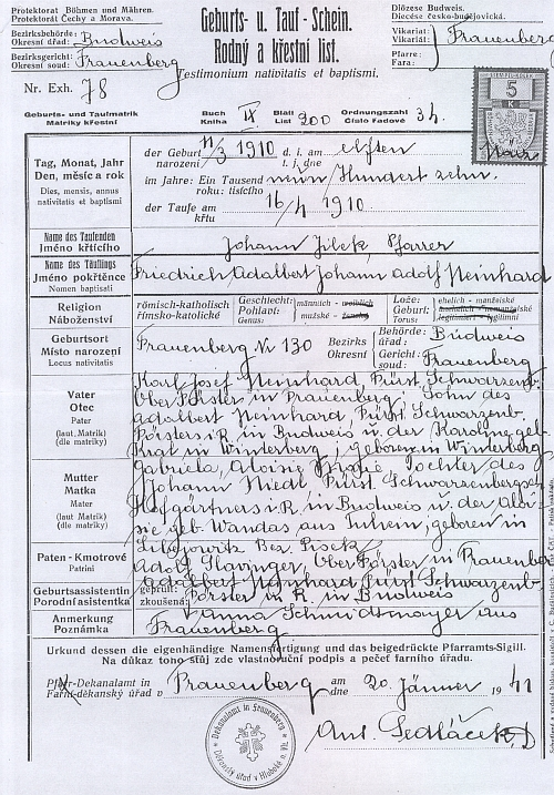 Rodný a křestní list (1944) vystavený v Hluboké nad Vltavou na základě matričního záznamu