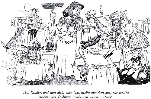 """""""Tak, děti, a teď ze sebe stáhněte ty národní kroječky, uděláme si spolu pořádek v domě"""" - jeho kreslený vtip z listu Stuttgarter Zeitung s datem 22. února 1950"""