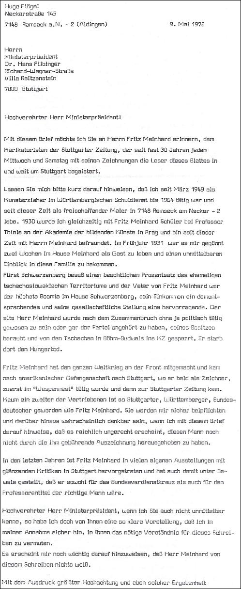 Dopis Hufo Flögela předsedovi vlády spolkové země Bádensko-Würtembersko vypočítává zásluhy Meinhardovy a označuje jej za vhodného kandidáta na udělení spolkového kříže za zásluhy a titulu profesora