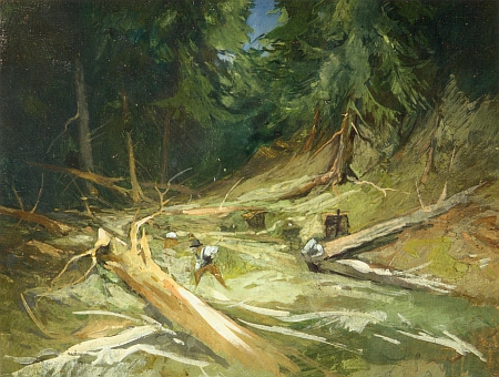 Obraz Josefa Krejsy (1896-1941) s názvem Lesní interiér pod Plechým