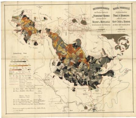 Lesní mapa z roku 1898, jejímž byl autorem (klikněte na náhled pro digitalizovanou mapu)