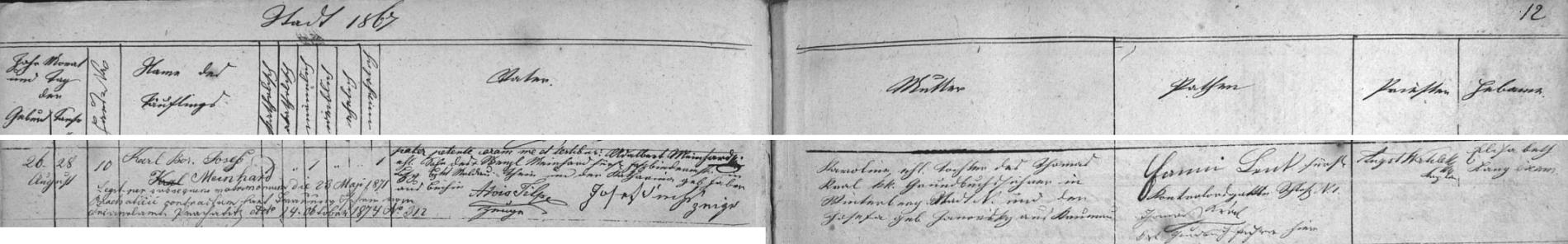 Záznam vimperské křestní matriky o jeho narození 26. srpna 1867 (a křtu dva dny nato) Karolině, dceři c.k. vedoucího pozemkových knih ve Vimperku Thomase Krale a Josefy, roz. Janowsky z Krumlova - jako otec byl legitimizován sňatkem s ní ze dne 23. května 1871 Adalbert Meinhard (stvrzuje to zde i svým podpisem), syn knížecího schwarzenberského bednáře Wenzla Meinharda z Týna nad Vltavou a Kathariny, roz. Faberové z Bechyně