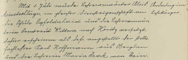 Tady školní kronika oznamuje jeho přeložení z Hodńova do Jablonce