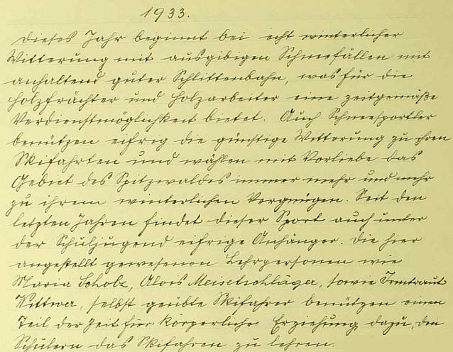 Záznam hodňovské obecní kroniky o sněhové nadílce počátkem roku 1933 a účasti Aloise Meisetschlägera na lyžařské výuce místních žáků