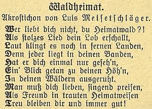 """Báseň """"Waldheimat"""" je v originále psána jako akrostichon, tj. první písmena jednotlivých řádků tvoří slovo, totožné s názvem básně"""