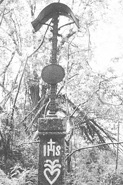"""Tzv. """"Aumüller Kreuz"""" na úpatí hory Kmet - snímek poškozeného kříže pochází z léta 1995"""
