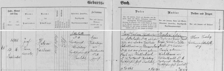 Záznam křestní matriky farní obce Kunžvart (dnes Strážný se zaniklým kostelem) o narození jeho druhé ženy ve dnes zcela zaniklé osadě Samory (Adlerhütte)