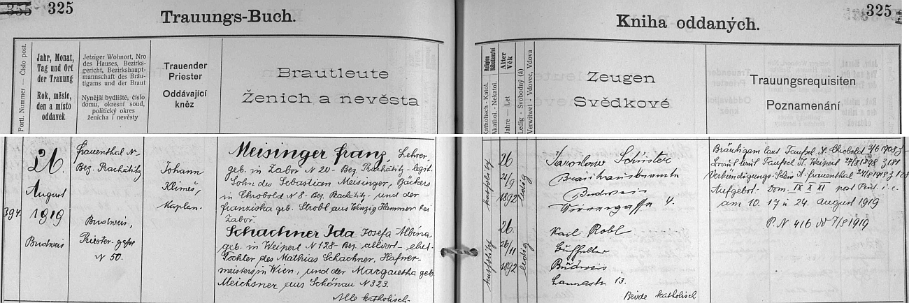 Záznam českobudějovické oddací matriky o jeho zdejší první svatbě