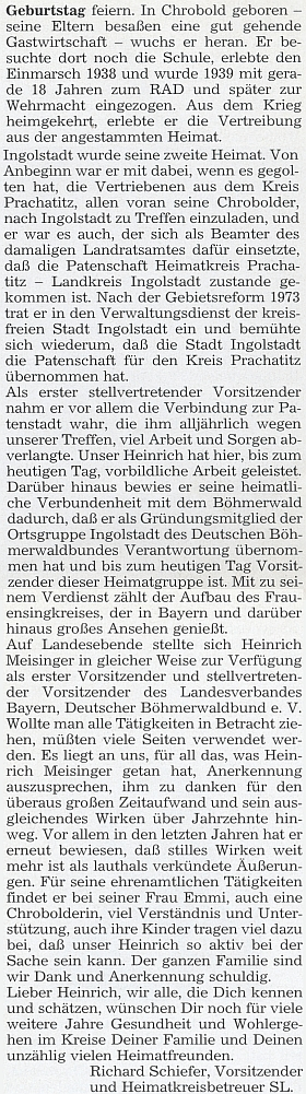 """Pozdrav k jeho sedmdesátinám napsal za celý """"Heimatkreis Prachatitz"""" Richard Schiefer"""