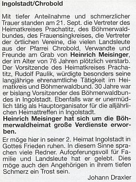 Autorem dvou nekrologů v krajanských časopisech se stal  Johann Draxler