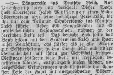 Úvod jeho článku ve Westböhmische Tageszeitung - na této jediné straně novin je od něj celkem 13 krátkých příspěvků ze Šumavy