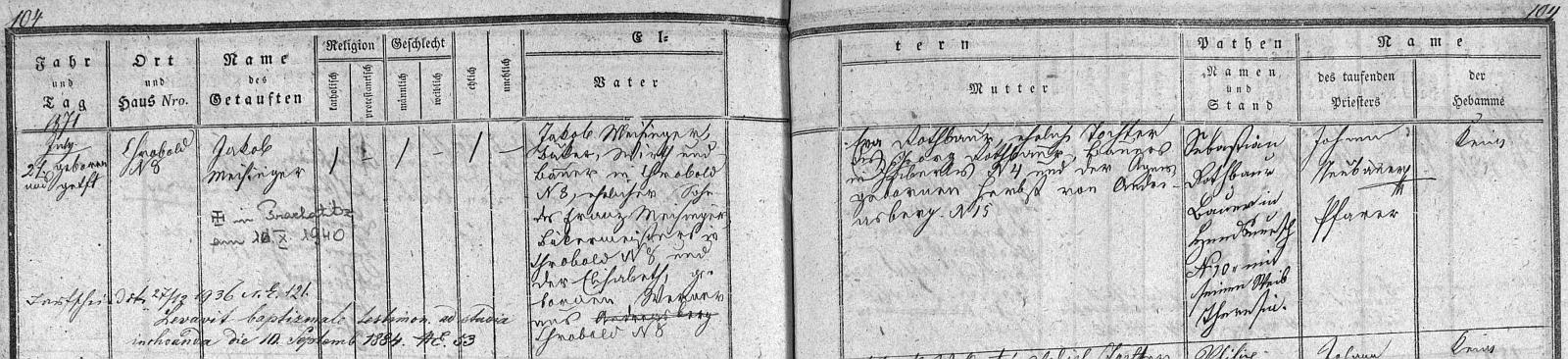 Záznam o jeho narození v chrobolské matrice