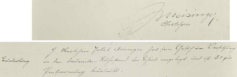 Jeho podpis ve školní kronice prachatické německé obecné školy chlapecké a na následující straně záznam o jeho žádosti ohledně trvalého odchodu na penzi v roce 1931