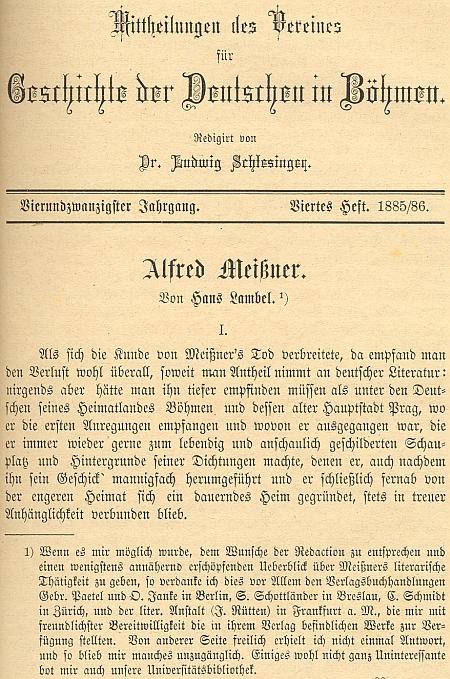Začátek obsáhlého nekrologu, který mu věnoval renomovaný časopis Spolku pro dějiny Němců v Čechách