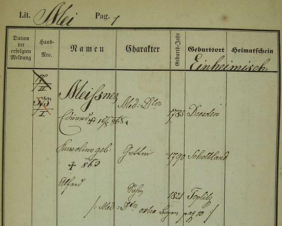 Pražská policejní přihláška jeho otce Eduarda Meissnera (1785-1868), rodáka z Drážďan, jeho manželky Karoliny (*1790 ve Skotsku) a syna Alfreda