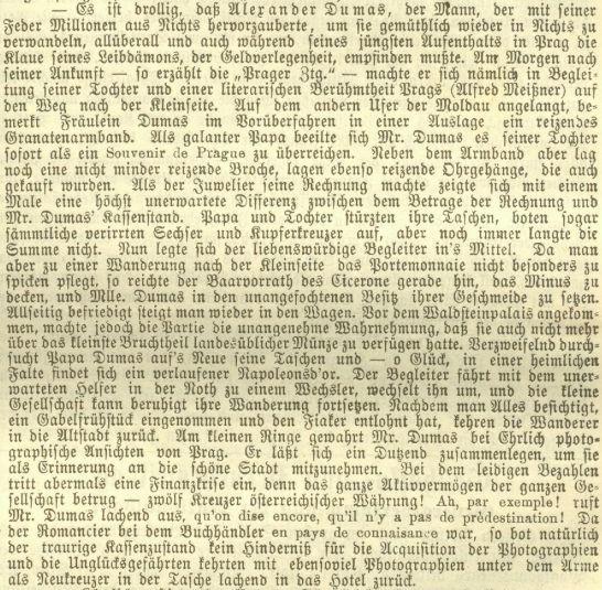 V líčení pobytu francouzského klasika Alexandra Dumase v Praze zaujímá Meissner jako jeho zdejší průvodce významnou roli i tím, že pomohl Dumasově rodině ke koupi suvenýru i zaplacení fiakru ve finanční nouzi romanopiscově