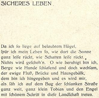 """Jeho báseň ze sbírky Bekränztes Jahr"""" (1911)"""