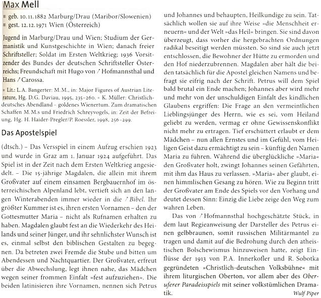 """Jeho heslo v Kindlerově literárním lexikonu  s obsahem jeho """"Hry o apoštolech"""" a odkazem na přátelství s Hugo von Hofmannsthalem"""