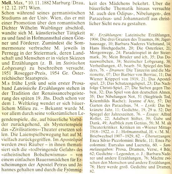 Takto je zastoupen v lexikonu spisovatelů německého jazyka ve XX. století