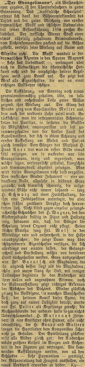 """Recenze představení """"vánoční"""" opery """"Der Evangelimann"""", jemuž podle autora textu dodala lesku """"silná pěst kapelníka Mellera"""", vMěstském divadle v Českých Budějovicích v prosinci roku 1917"""