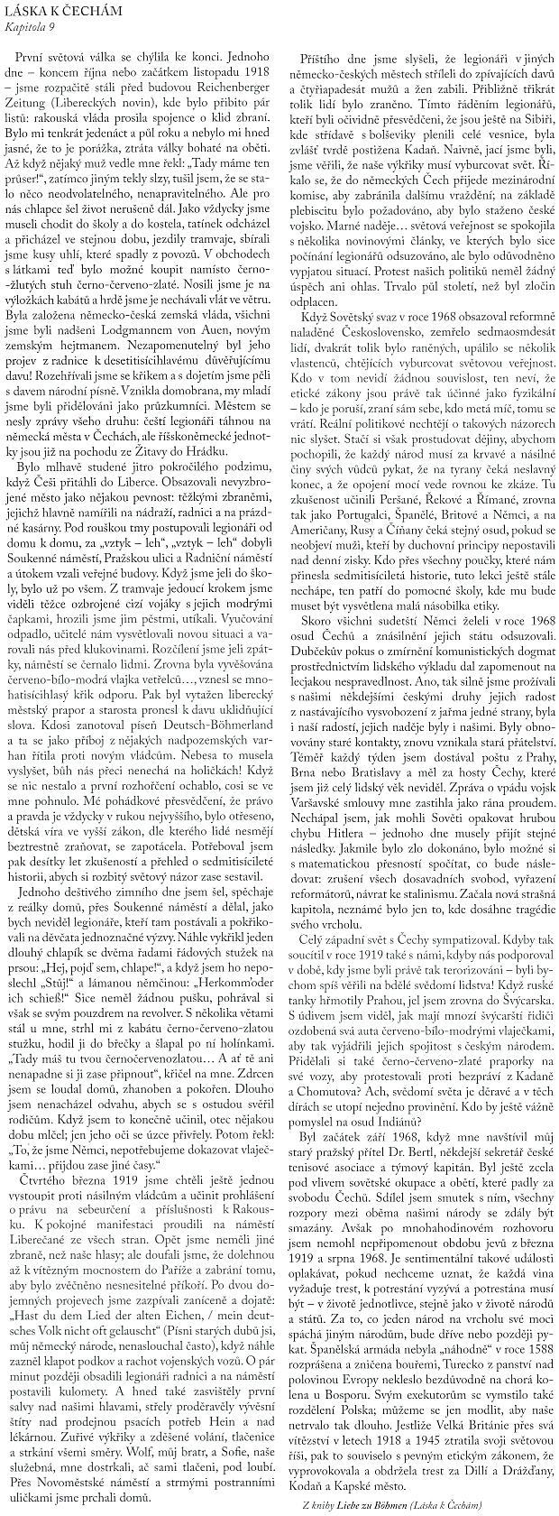 Český překlad kapitoly z jeho knihy Liebe zu Böhmen (1970), tj. Láska k Čechám