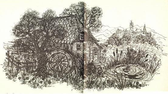 Ilustrace k jeho pohádce o mlýně na Rákosovém rybníce