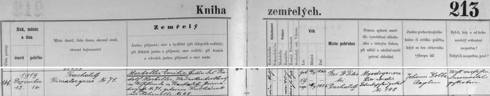Záznam prachatické úmrtní matriky o skonu jeho ženy Emilie a jejím pohřbu ve Starých Prachaticích