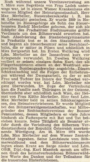 Nekrolog jeho syna v rakouském krajanském tisku