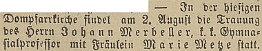Takto o svatbě informoval budějovický německý list