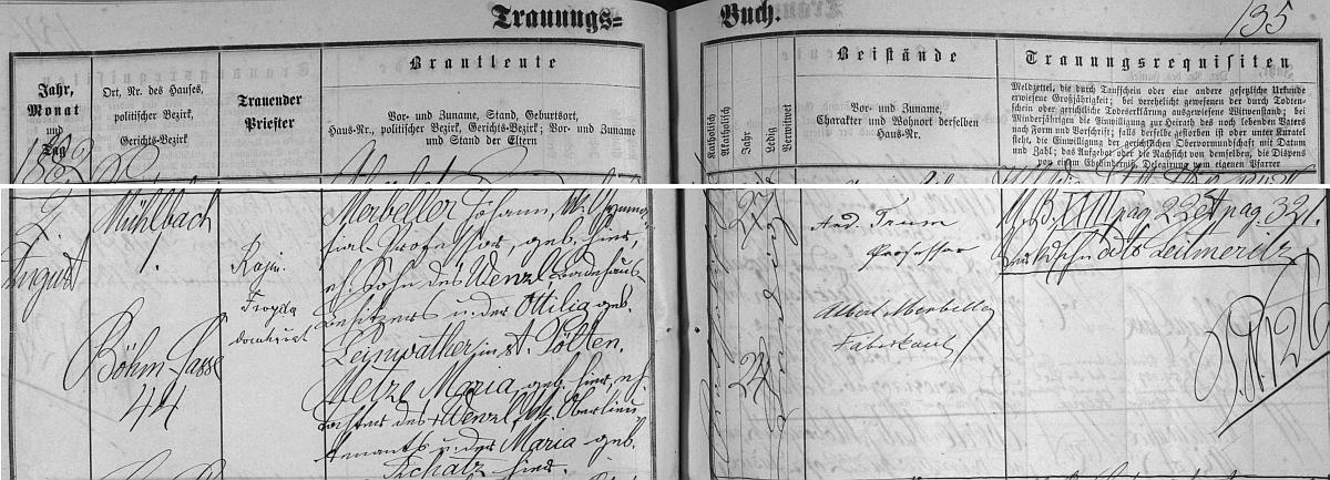 Záznam o jeho svatbě v českobudějovické knize oddaných