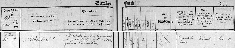 Záznam o úmrtí otcově v českobudějovické úmrtní matrice