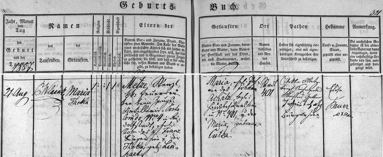 Záznam českobudějovické křestní matriky o narození jeho ženy Marie Thekly, roz. Metzeové
